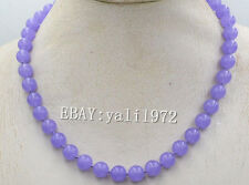 "beautiful!10mm natural purple jades gemstone beads necklace 18"" LL001"