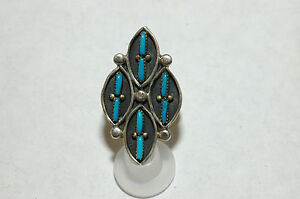 Ladies Zuni 8 stone turquoise needlepoint ring Sterling Silver