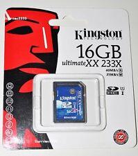 Kingston SD SDHC UltimateXX 233X SDHA1/16GB 16GB UHS-I 60MB/sR Memory Flash Card