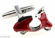 SUPER RED & SILVER  SCOOTER CUFFLINKS LAMBRETTA STYLE WITH VELVET POUCH UK GIFT
