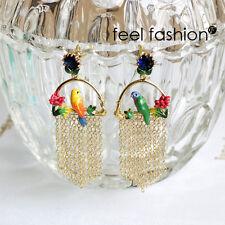 Boucles d`Oreilles Clous Email Perroquet Fleur Cage Oiseau Rose Vert Frange  L6
