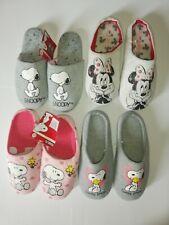 Peanuts Snoopy Minnie - Damen Hausschuhe Slipper Pantoffeln - Grau & Pink - NEU