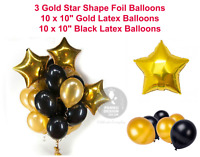 "18"" Gold Star Foil Balloons Gold Black Theme Balloons Birthday Wedding Party bal"