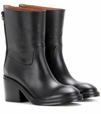 High (3 in. and Up) Block Heel Leather Solid Boots for Women