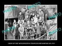 OLD POSTCARD SIZE PHOTO BRITISH NAVY CREW HMS HORNBEAM MINESWEEPER SHIP c1935