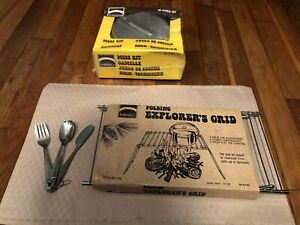Mirro Vintage 5 Piece Camping Set With Mirro Explorer's Grid And Silverware