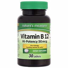 30 Ct Nature's Measure Vitamin B-12  Sealed Bottle *Free Shipping*
