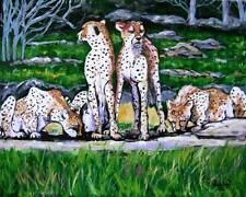 African Cheetahs Original Art DAN BYL PAINTING Modern Contemporary Huge 4x5ft