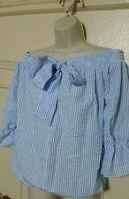 Off Shoulder Blouse Tops crop top  Women Bowknot Long Sleeve Blue, black  Strip