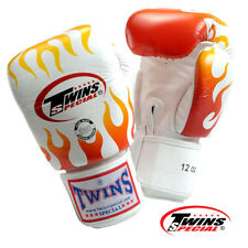 Twins Special Muay Thai MMA K1 Boxing Gloves USA STOCK White/Yellow Flames 12 oz