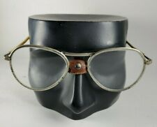 Vtg. Willson Safety Glasses Motorcycle Goggles With Leather Nose Pad Steampunk