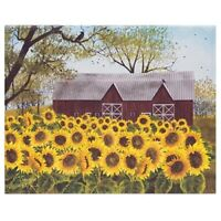"""New Primitive Country Billy Jacobs SUNSHINE Sunflower Red Barn Picture 16"""""""