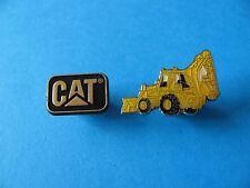 2, Construction Vehicle Pin Badges. Back Hoe Digger & CAT