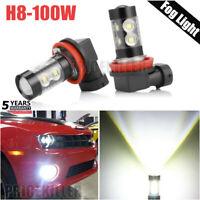 2x H11 LED Fog Light 100W Conversion H8 H9 Bulb Car Driving Lamp DRL 6000K White