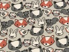 Fabric Baby Fox Rabbit Owls Animals On Heavy Weight Soft Grey Flannel 1/4 yard