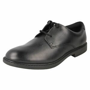 Boys Clarks Rounded Toe Formal Lace Up Leather Heeled School Shoes Scala Loop
