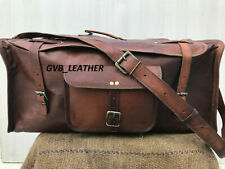 Vintage Genuine Leather Duffel Flap Over Luggage Travel Overnight Weekend Bag