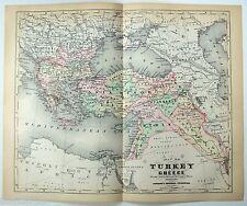Original 1896 Johnson's Copper-Plate Map of Turkey, Greece, Armenia & Kurdistan