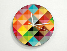 Hipster Color Triangles Patern - Geometry Textures & Shapes - Custom Wall Clock