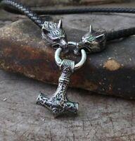 Wikinger Halskette Leder mit Mjölnir Anhänger - Thor Hammer Wolf nordisch