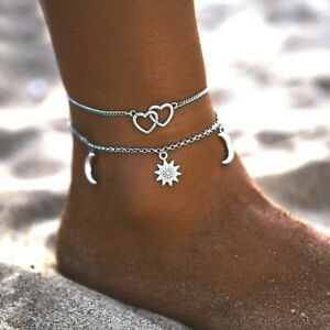 Womens Ankle Bracelet Silver Star Moon Foot Anklet Foot Bracelet Chain Beach Bea