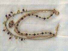 Swarovski Womens Three Strand Multicolor Crystal Bead Necklace