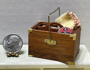 Vintage Artisan Housekeepers Box W/Rag & Cleaning Items Dollhouse Miniature 1:12