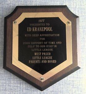 Ed Kranepool New York Mets Award Plaque 1977 West Pasco Little League