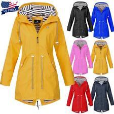 Plus Size Women Long Sleeve Hooded Wind Jacket Outdoor Waterproof Rain Coat USA