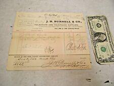 2 - 1888 J. H. Bunnell & Co. Dealer of Telegraph & Telephone Supplies Receipts