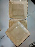 Artimino Stoneware Lot Of 3 Square Plates Tuscan Countryside Cream
