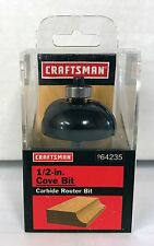 """NEW CRAFTSMAN 1/2"""" COVE CARBIDE TIPPED ROUTER BIT 64235 9-64235 1/4"""" SHANK"""