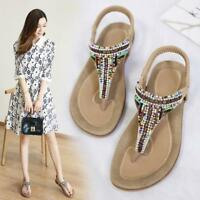 Womens Boho Beaded Thong Elasticated Slingback Strap Beach Sandals Flat Shoes