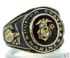 Made in USA Men's US Marine Corps Gold Plated Military Ring Size-10 '