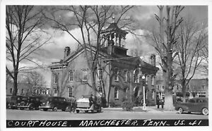 H48/ Manchester Tennessee Postcard RPPC 1941 Court House Building