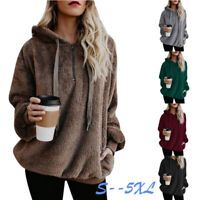 Women Casual Loose Long Sleeve Hooded Sweatshirt Fuzzy Hoodie Pullover Top Coat