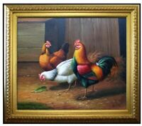 Framed Quality Hand Painted Oil Painting Rooster and Hens VII 20x24in