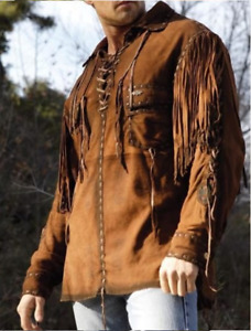 Men Tan Brown Suede Western Cowboy Leather Shirt Style With Fringe