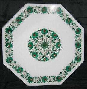 Malachite Stone Inlay Art Guest Room Table Top Marble Dining table top for Home