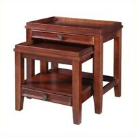 Riverbay Furniture 2 Piece Nesting Table Set in Cherry