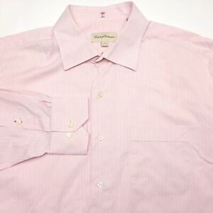 Tommy Bahama Pink Striped Button Up Long Sleeve Dress Shirt Men's Size 17  32-33
