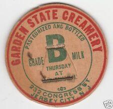 MILK BOTTLE CAP. GARDEN STATE CREAMERY. JERSEY CITY, NJ. DAIRY