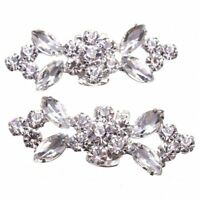 1Pair Rhinestone Crystal Wedding Bridal Diamante Crystal Shoe Clips L1J2