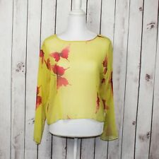 HARARI Women's 100% Silk Sheer Top Yellow w/ Red Butterfly Print Size PS