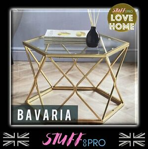 Glass Topped Art Deco Style Coffee Table With Curved Gold Legs Luxury Furniture