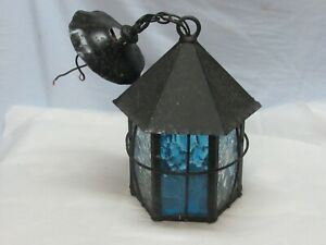 VINTAGE GOTHIC WITCHES HAT HANGING PORCH LIGHT FIXTURE BLUE/CLEAR TEXTURED