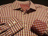 Robert Graham Mens Large L/S Button-Front Multicolor Plaid Check Flip Cuff Shirt