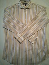 BANANA REPUBLIC MENS Yellow Brown Blue Striped DRESS SHIRT SIZE L Woven In Italy
