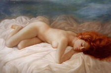 LMOP678 portrait nude girl sleeping on bed hand paint art oil painting canvas