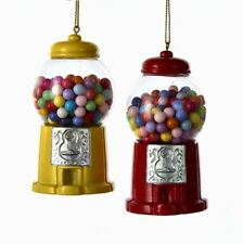 "A1716 3.5"" St/2 Gumball Machine Candy Shop Glitter Ornament Yellow Red Penny Gum"